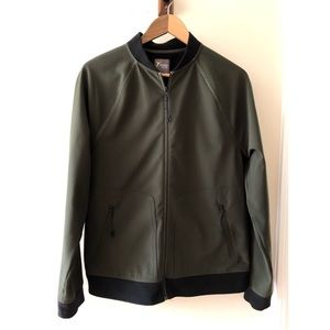 Army Green Athletic Bomber Jacket